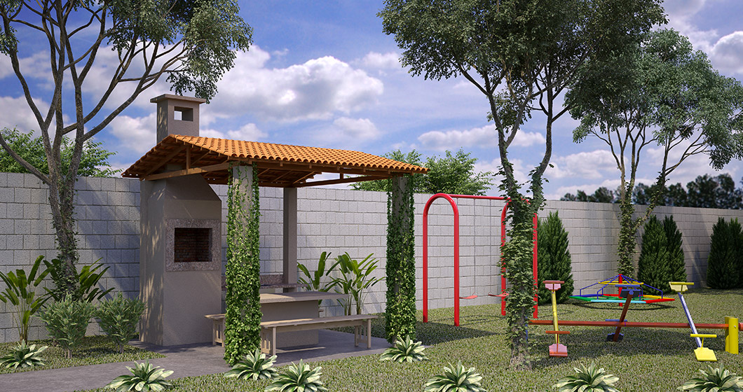 Churrasqueira e playground do Residencial Collina Belvedere