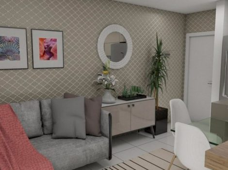 Sala de estar decorada do Residencial América